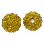 Strass Ton befestigte Perlen, rund, mit Strass, goldgelb, 10mm, Bohrung:ca. 1.5mm, 50PCs/Tasche, verkauft von Tasche
