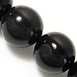 Natürliche schwarze Achat Perlen, Schwarzer Achat, rund, 8mm, Bohrung:ca. 1mm, ca. 48PCs/Strang, verkauft per ca. 15 ZollInch Strang
