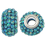 European Harz Perlen, Rondell, Platinfarbe platiniert, AB Farbe & Messing-Dual-Core ohne troll & mit Strass, 9x15mm, Bohrung:ca. 5mm, 50PCs/Menge, verkauft von Menge