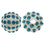 Strass Zinklegierung Perlen, rund, silberfarben plattiert, mit Strass, frei von Nickel, Blei & Kadmium, 12mm, Bohrung:ca. 3mm, 10PCs/Tasche, verkauft von Tasche