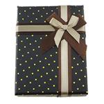 Karton Schmuckset Kasten, Papier, Fingerring & Ohrring, mit Satinband & Baumwollsamt, Rechteck, mit Muster von runden Punkten, schwarz, 72x95x29mm, 48PCs/Menge, verkauft von Menge