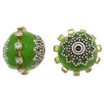 Indonesien Perlen, mit Messing & Zinklegierung, Trommel, plattiert, mit Strass, grün, 17x16mm, Bohrung:ca. 1mm, 100PCs/Tasche, verkauft von Tasche