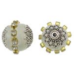 Indonesien Perlen, mit Messing & Zinklegierung, Trommel, plattiert, mit Strass, weiß, 17x16mm, Bohrung:ca. 1mm, 100PCs/Tasche, verkauft von Tasche