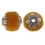 Indonesien Perlen, mit Glas-Rocailles & Zinklegierung, oval, antik silberfarben plattiert, gelb, 12x14mm, Bohrung:ca. 1.5mm, 100PCs/Tasche, verkauft von Tasche