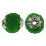 Indonesien Perlen, mit Glas-Rocailles & Zinklegierung, oval, antik silberfarben plattiert, grün, 12x14mm, Bohrung:ca. 1.5mm, 100PCs/Tasche, verkauft von Tasche