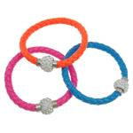Lederband Armband, Leder, Zinklegierung Magnetverschluss, Platinfarbe platiniert, mit Strass, gemischte Farben, 7mm, Länge:ca. 8 ZollInch, 12SträngeStrang/Tasche, verkauft von Tasche