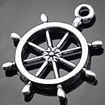 Zinklegierung Schiffsrad & Anker Anhänger, antik silberfarben plattiert, nautische Muster, frei von Nickel, Blei & Kadmium, 23x27mm, Bohrung:ca. 1.5-3mm, 500PCs/Tasche, verkauft von Tasche