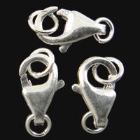 925 Sterling Silber Karabinerverschluss, platiniert, 5.30x9.50x2.50mm, Bohrung:ca. 2-3.2mm, 10PCs/Tasche, verkauft von Tasche
