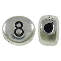 Zink Legierung Alphabet Perlen, Zinklegierung, flachoval, antik silberfarben plattiert, mit einem Muster von Nummer & Schwärzen, frei von Nickel, Blei & Kadmium, 7x6x4mm, Bohrung:ca. 1mm, ca. 830PCs/Tasche, verkauft von Tasche