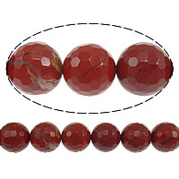 Roter Jaspis Perle, rund, facettierte, 14mm, Bohrung:ca. 1.2-1.4mm, Länge:ca. 15 ZollInch, 10SträngeStrang/Menge, ca. 28PCs/Strang, verkauft von Menge