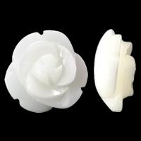 Natürliche weiße Muschelperlen, Blume, geschnitzt, halbgebohrt, 10x5mm, Bohrung:ca. 1mm, 15PCs/Tasche, verkauft von Tasche