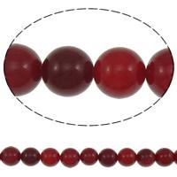 Jade Perlen, rote Jade, rund, natürlich, 12mm, Bohrung:ca. 1mm, ca. 33PCs/Strang, verkauft per ca. 15 ZollInch Strang