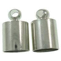 Messing Endkappe, Platinfarbe platiniert, frei von Nickel, Blei & Kadmium, 6x10mm, Bohrung:ca. 5mm, 1000PCs/Tasche, verkauft von Tasche