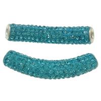 Strass Messing Perlen, Ton, mit Messing, Rohr, Platinfarbe platiniert, mit Strass, pfauenblau, frei von Nickel, Blei & Kadmium, 10x48mm, Bohrung:ca. 4mm, 10PCs/Tasche, verkauft von Tasche
