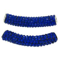 Strass Messing Perlen, Ton, mit Messing, Rohr, Platinfarbe platiniert, mit Strass, tiefblau, frei von Nickel, Blei & Kadmium, 10x48mm, Bohrung:ca. 4mm, 10PCs/Tasche, verkauft von Tasche