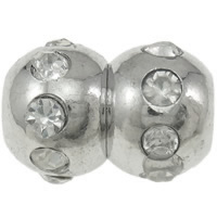 Zinklegierung Magnetverschluss, Kalebasse, Platinfarbe platiniert, mit Strass, frei von Nickel, Blei & Kadmium, 12x17mm, Bohrung:ca. 4.5mm, 20SetsSatz/Tasche, verkauft von Tasche