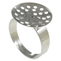Eisen Sieb Ring Basis, Platinfarbe platiniert, frei von Nickel, Blei & Kadmium, 19x16x21mm, Bohrung:ca. 2-2.5mm, Größe:8.5, 400PCs/Tasche, verkauft von Tasche