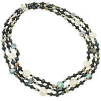 Natürliche kultivierte Süßwasserperlen Halskette, Messing Schiebeverschluss, 3-Strang, 3-13mm, verkauft per ca. 18.5 ZollInch Strang