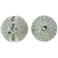 Befestigte Zirkonia Perlen, Messing, rund, Platinfarbe platiniert, Micro pave Zirkonia & hohl, frei von Nickel, Blei & Kadmium, 9mm, Bohrung:ca. 1mm, verkauft von PC