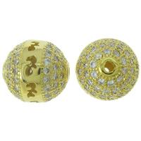 Befestigte Zirkonia Perlen, Messing, rund, goldfarben plattiert, Micro pave Zirkonia & hohl, frei von Nickel, Blei & Kadmium, 9mm, Bohrung:ca. 1mm, verkauft von PC