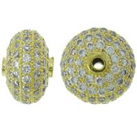 Befestigte Zirkonia Perlen, Messing, Rondell, goldfarben plattiert, Micro pave Zirkonia, frei von Nickel, Blei & Kadmium, 12x8mm, Bohrung:ca. 1mm, verkauft von PC
