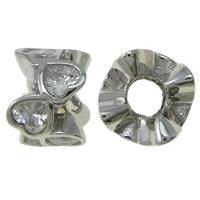 Kubischer Zirkonia Messing Perlen, Platinfarbe platiniert, mit einem Muster von Herzen & mit kubischem Zirkonia, frei von Nickel, Blei & Kadmium, 12x7.5mm, Bohrung:ca. 4.5mm, verkauft von PC