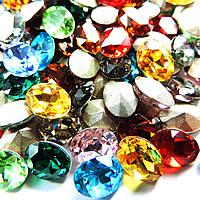 Kristall Eisen auf Nagelkopf, oval, silberfarben plattiert, facettierte, gemischte Farben, 18x25mm, 75PCs/Tasche, verkauft von Tasche