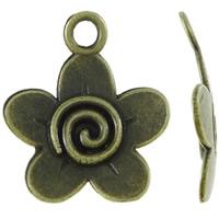 Zinklegierung Blume Anhänger, antike Bronzefarbe plattiert, frei von Nickel, Blei & Kadmium, 18x21x2mm, Bohrung:ca. 2.5mm, ca. 1000PCs/kg, verkauft von kg
