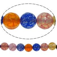 Natürliche Regenbogen Achat Perlen, rund, facettierte & Knistern, 8mm, Bohrung:ca. 0.8-1mm, Länge:ca. 15 ZollInch, 10SträngeStrang/Menge, 48PCs/Strang, verkauft von Menge