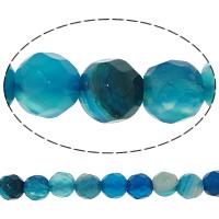 Natürliche blaue Achat Perlen, Blauer Achat, rund, facettierte, 4mm, Bohrung:ca. 0.8-1mm, Länge:ca. 14.5 ZollInch, 20SträngeStrang/Menge, 92PCs/Strang, verkauft von Menge
