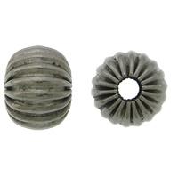 Edelstahlwell Beads, 304 Edelstahl, Rondell, metallschwarz plattiert, gewellt, 6.50x8mm, Bohrung:ca. 2.5mm, 100PCs/Menge, verkauft von Menge