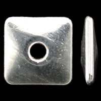 Zinklegierung flache Perlen, Quadrat, hell silberfarben plattiert, frei von Nickel, Blei & Kadmium, 8x1.5mm, Bohrung:ca. 2mm, 2Taschen/Menge, ca. 1250PCs/Tasche, verkauft von Menge
