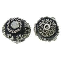 Indonesien Perlen, mit Zinklegierung, antik silberfarben plattiert, mit Strass, frei von Nickel, Blei & Kadmium, 15x17x15mm, Bohrung:ca. 2mm, 100PCs/Tasche, verkauft von Tasche