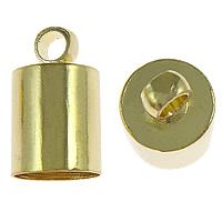 Messing Endkappe, goldfarben plattiert, frei von Nickel, Blei & Kadmium, 6x10mm, Bohrung:ca. 1.5mm, Innendurchmesser:ca. 5.8mm, 100PCs/Menge, verkauft von Menge