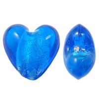 Silberfolie Lampwork Perlen, Herz, handgemacht, blau, 21x21x13mm, Bohrung:ca. 2.5mm, 100PCs/Tasche, verkauft von Tasche