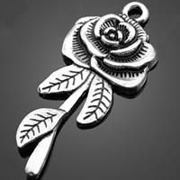 Zinklegierung Blume Anhänger, antik silberfarben plattiert, frei von Nickel, Blei & Kadmium, 18.90x43.10mm, Bohrung:ca. 3-5mm, 200PCs/Tasche, verkauft von Tasche