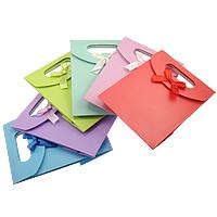 Mode Geschenkbeutel, Papier, mit Satinband, gemischte Farben, 125x165x60mm, 120PCs/Menge, verkauft von Menge