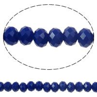 Klasse AA Kristallperlen, Kristall, Rondell, facettierte & AA grade crystal, tiefblau, 6x4mm, Bohrung:ca. 1mm, Länge:ca. 16.1 ZollInch, 10SträngeStrang/Tasche, verkauft von Tasche