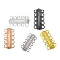 Zinklegierung Magnetverschluss, plattiert, 5-litzig, gemischte Farben, frei von Nickel, Blei & Kadmium, 17x33x8mm, Bohrung:ca. 3mm, 50PCs/Menge, verkauft von Menge