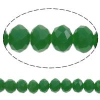 Klasse AA Kristallperlen, Kristall, Rondell, facettierte & AA grade crystal, kristallgrün, 4x3mm, Bohrung:ca. 1mm, Länge:ca. 18.7 ZollInch, 10SträngeStrang/Tasche, verkauft von Tasche