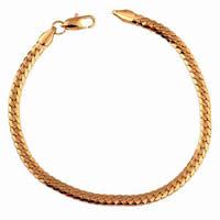 Gets® Schmuck Armband, Messing, 18 K vergoldet, Kandare Kette, frei von Nickel, Blei & Kadmium, 4mm, verkauft per ca. 7.5 ZollInch Strang