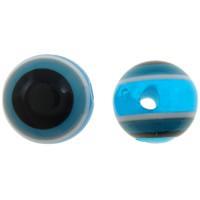 Harz Evil Eye Perlen, rund, Streifen, säurenblau, 10mm, Bohrung:ca. 2mm, 1000PCs/Tasche, verkauft von Tasche