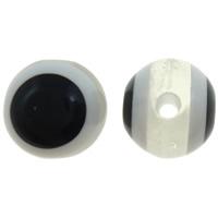 Harz Evil Eye Perlen, rund, Streifen, weiß, 10mm, Bohrung:ca. 2mm, 1000PCs/Tasche, verkauft von Tasche