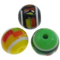 Gestreifte Harz Perlen, rund, Streifen, gemischte Farben, 12mm, Bohrung:ca. 2mm, 1000PCs/Tasche, verkauft von Tasche
