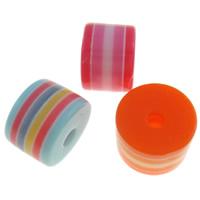 Gestreifte Harz Perlen, Zylinder, Streifen, gemischte Farben, 8x6mm, Bohrung:ca. 2mm, 1000PCs/Tasche, verkauft von Tasche