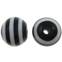 Gestreifte Harz Perlen, rund, Streifen, schwarz, 8mm, Bohrung:ca. 2mm, 1000PCs/Tasche, verkauft von Tasche