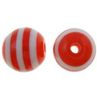 Gestreifte Harz Perlen, rund, Streifen, rot, 12mm, Bohrung:ca. 2mm, 1000PCs/Tasche, verkauft von Tasche