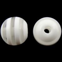 Gestreifte Harz Perlen, rund, Streifen, weiß, 8mm, Bohrung:ca. 2mm, 1000PCs/Tasche, verkauft von Tasche