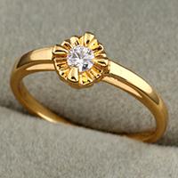 Gets® Finger Ring, Messing, 18 K vergoldet, mit kubischem Zirkonia, frei von Nickel, Blei & Kadmium, 6x7mm, Größe:7.5, verkauft von PC
