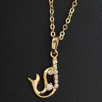 Gets® Schmuck Halskette, Messing, Dolphin, 18 K vergoldet, Oval-Kette & mit kubischem Zirkonia, frei von Nickel, Blei & Kadmium, 12x22mm, verkauft per ca. 17.5 ZollInch Strang